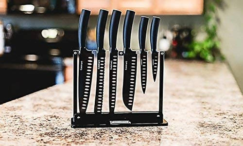 Cuisinart Classic Nonstick Edge Collection 7-Piece Cutlery Knife Set with Acrylic Stand (Black) - CU-C77NS-7P