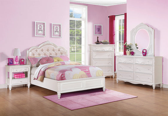 Caroline Full Upholstered Panel Bed Pink And White - 400720F