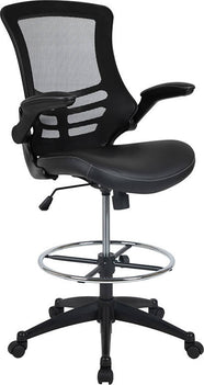 Mid-Back Black Mesh Ergonomic Drafting Chair with LeatherSoft Seat, Adjustable Foot Ring and Flip-Up Arms [BL-X-5M-D-BK-LEA-GG]