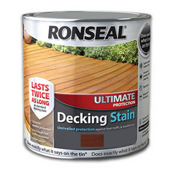 Ronseal Ultimate Decking Stain (Stone Grey) 2.5 Litres Primarily for use on pre-treated decking.- 36911