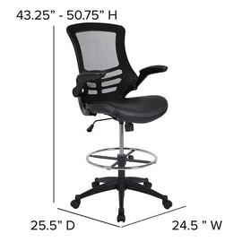 Mid-Back Black Mesh Ergonomic Drafting Chair with LeatherSoft Seat, Adjustable Foot Ring and Flip-Up Arms - BL-X-5M-D-BK-LEA-GG