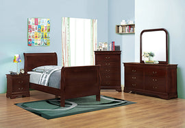 Santee Louis Philippe Twin Sleigh Panel Bed Red Brown - 203971T