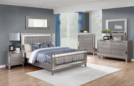 Leighton Full Panel Bed With Mirrored Accents Mercury Metallic 4PC Set - SET4PC204921F
