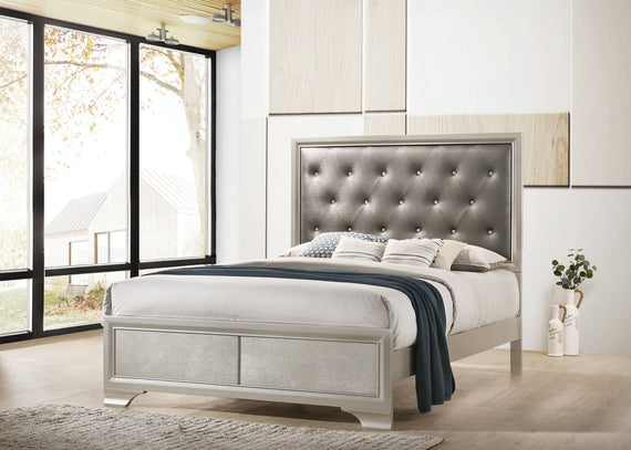 Salford Eastern King Panel Bed Metallic Sterling And Charcoal Grey - 222721KE