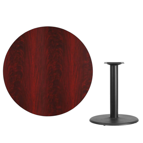 42'' Round Black Laminate Table Top with 24'' Round Table Height Base [XU-RD-42-BLKTB-TR24-GG]