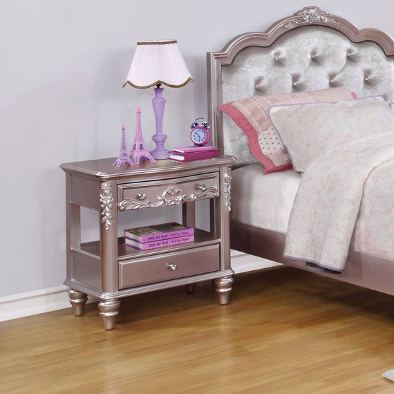 Caroline Full Upholstered Bed Metallic Lilac And Grey 4PC Set - SET4PC400890F