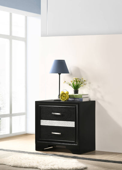 Miranda 2-Drawer Nightstand Tray Black - 206362