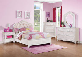 Caroline Full Upholstered Panel Bed Pink And White 4PC Set - SET4PC400720F