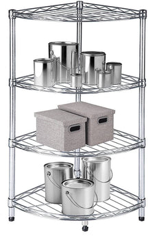 Diamond Home Chrome Four-Tier Corner Shelving Unit - DH - 30005