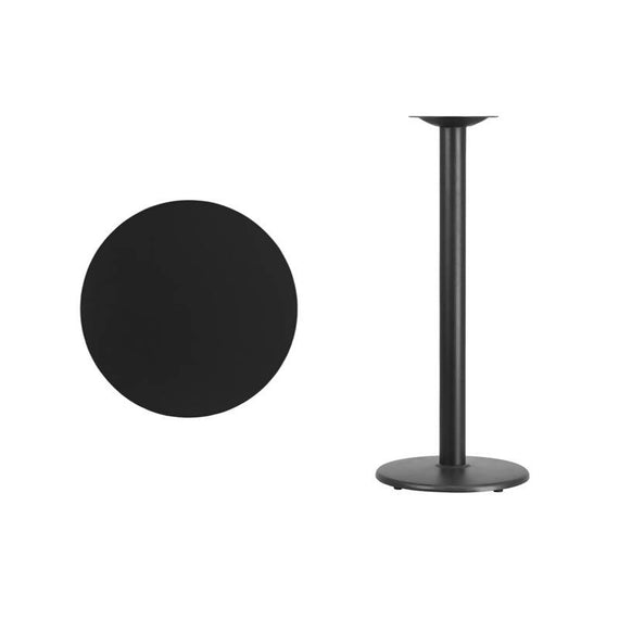 24'' Round Black Laminate Table Top with 18'' Round Bar Height Table Base [XU-RD-24-BLKTB-TR18B-GG]