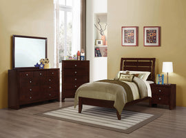Serinity Twin Panel Bed With Cut-Out Headboard Rich Merlot - 201971T