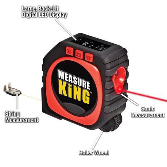Measure king 3 in 1 Measuring Digital Tape With String Mode, Sonic Mode & Roller Mode - As seen On Tv. High Accuracy High Impact Professional Measuring Tool