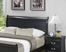 Louis Philippe Eastern King Sleigh Headboard Black - 212411KEH