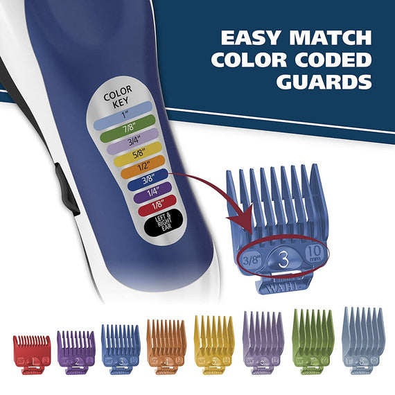 Wahl Hair Cutting Kit Color Pro Complete Hair Cutting Kit for Men, Women, & Children with Colored Guide Combs for Smooth, Easy Haircuts -793012