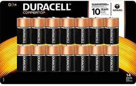 Duracell D Batteries 14pk Long Lasting Power CopperTop All Purpose D Battery For Household And Business-19511