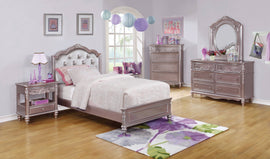 Caroline Twin Upholstered Bed Metallic Lilac And Grey 4PC Set - SET4PC400890T