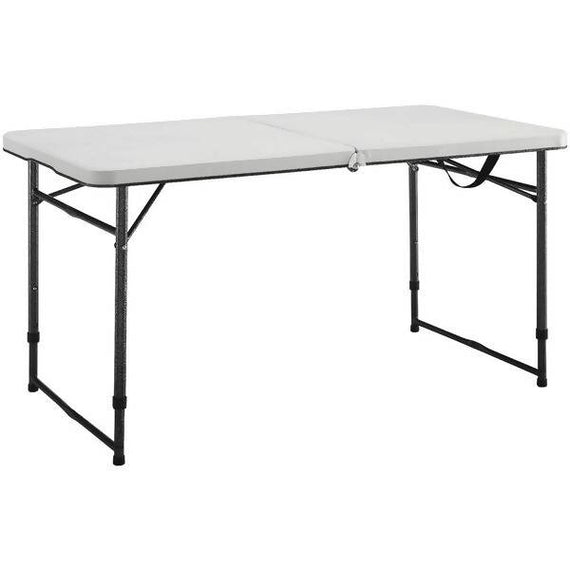 Lifetime Folding Table 4' Rectangular Lifetime 4 Foot Adjustable Fold In Half Tables are constructed of high density polyethylene and have three adjustable height settings - 4429