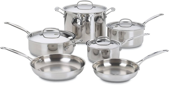 Cuisinart Chef's Classic Stainless 10-Piece Cookware Set (Silver) - CU-77-10