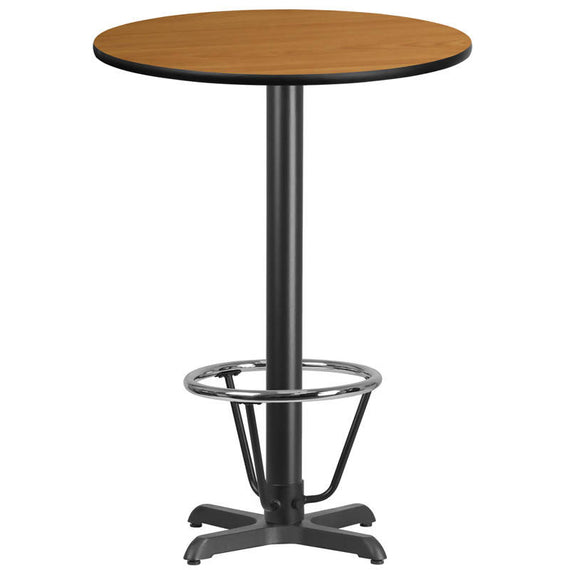 30'' Round Black Laminate Table Top with 22'' x 22'' Bar Height Table Base and Foot Ring [XU-RD-30-BLKTB-T2222B-3CFR-GG]