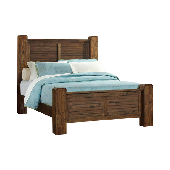 Sutter Creek Queen Bed With Block Posts Vintage Bourbon 4PC Set - SET4PC204531Q