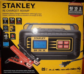 Stanley Battery Charger 15 amp Get back on the road in minutes with the Stanley 15 Amp car battery charger with fast, high frequency technology, it delivers 3 stage charging automatically switching from Bulk to Absorption and top off-265700