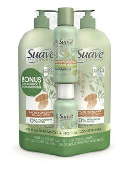 Suave Professional Shampoo and Conditioner 4 Units / 1 moisturizing shampoo + 1 moisturizing conditioner + 1 travel size shampoo + 1 travel size conditioner / 390349