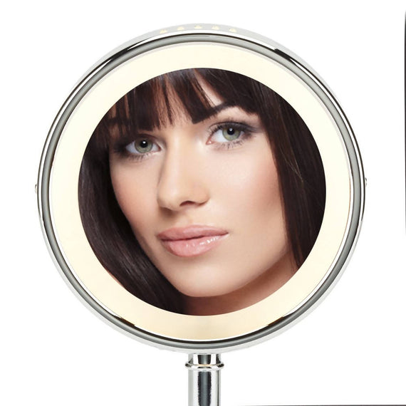 Conair Reflections Double-Sided Lighted Round Mirror features 1x/5x magnification, illuminated by circular lighting that will brighten your day both ways - C-BE150Z