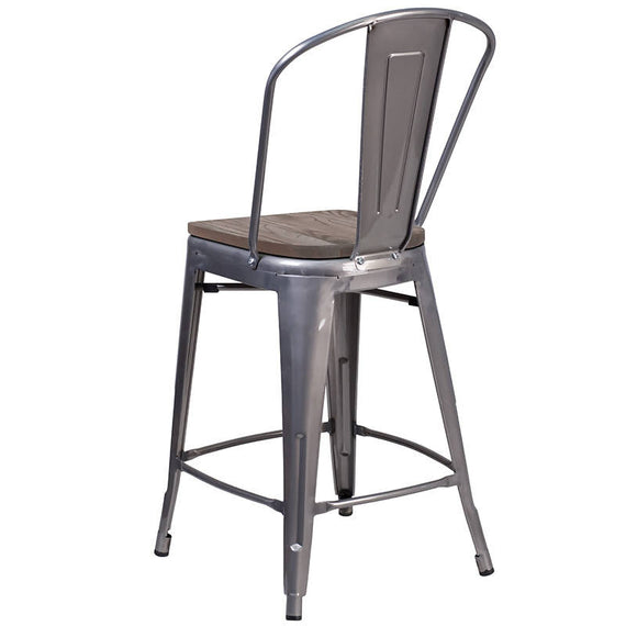 "24"" High Clear Coated Counter Height Stool with Back and Wood Seat [XU-DG-TP001B-24-WD-GG]"