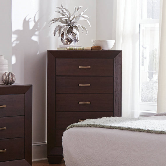 Kauffman 5-Drawer Chest Dark Cocoa - 204395