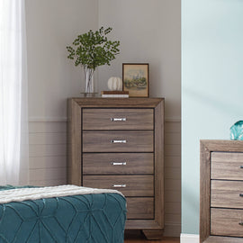Kauffman 5-Drawer Chest Washed Taupe - 204195