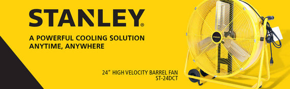 "Stanley Direct Craddle Drum Fan- Tiltable 24"" Yellow, Black- 8423"
