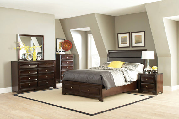 Jaxson California King Storage Bed With Upholstered Headboard Cappuccino - 203481KW