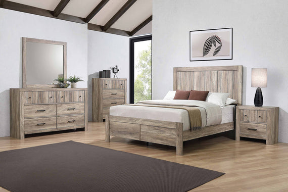 Adelaide Queen Wood Panel Bed Rustic Oak - 223101Q