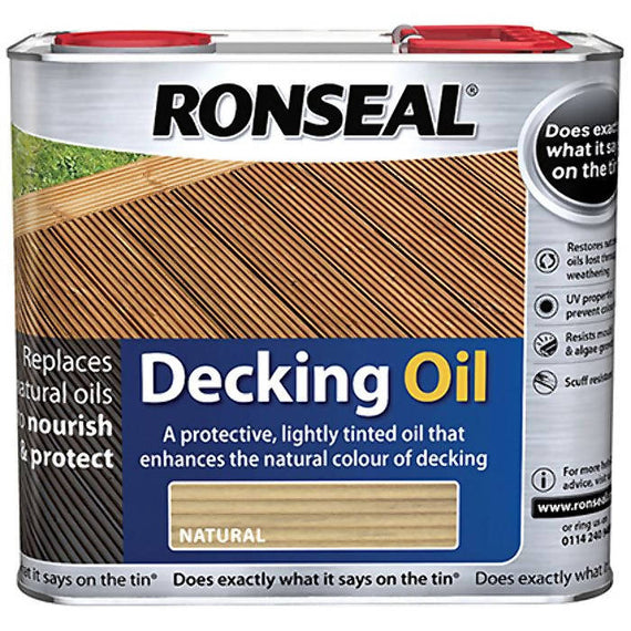 Ronseal Decking Oil (Natural) 2.5 Litres Protective barrier against water penetration where constant weathering can cause swelling and warping. - 34770