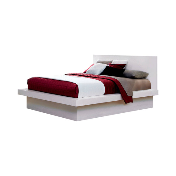 Jessica Queen Platform Bed With Rail Seating White 4PC Set - SET4PC202990Q