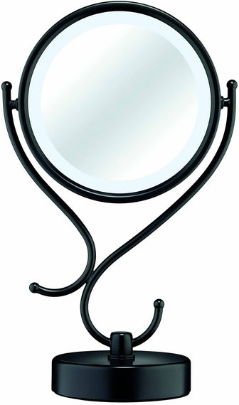 Reflections by Conair Home Vanity Fluorescent Collection Mirror (Matte Black) features 1x/8x magnification for easy viewing when applying makeup, shaving or putting in contact lenses - C-BE125MB