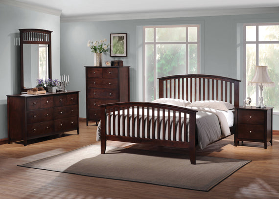 Tia Queen Bed With Slatted Headboard Cappuccino 4PC Set - SET4PC202081Q
