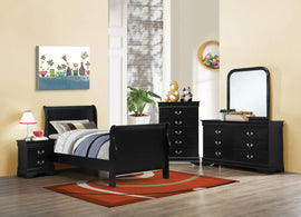 Santee Louis Philippe Twin Sleigh Panel Bed Black - 203961T