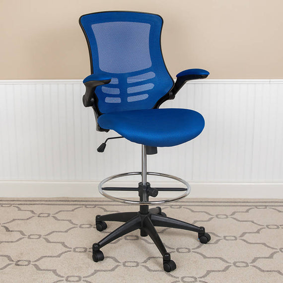 Mid-Back Mesh Ergonomic Drafting Chair with Adjustable Foot Ring and Flip-Up Arms - BL-X-5M-D-BLUE-GG / BL-X-5M-D-DKGY-GG / BL-X-5M-D-GG / BL-X-5M-D-RED-GG / BL-X-5M-D-WH-GG