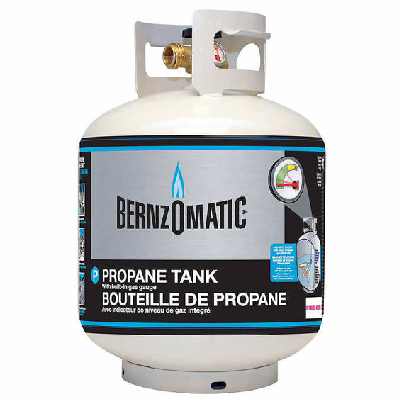 Bernzomatic 20 lb Steel Propane Cylinder/Tank With Gauge Empty Bernzomatic steel propane cylinder/tank is ideal for a range of residential, commercial and industrial uses including grilling, cooking and heating-703774