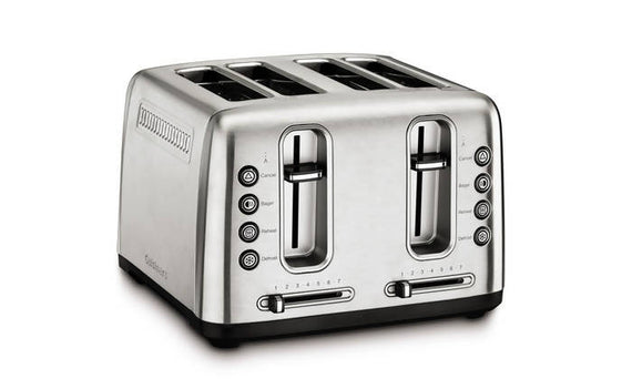 Cuisinart Stainless Steel 4 Slice Toaster with Shade Control lets you defrost and toast bagels and bread, just the way you want them - CU-RBT-4900PCFR
