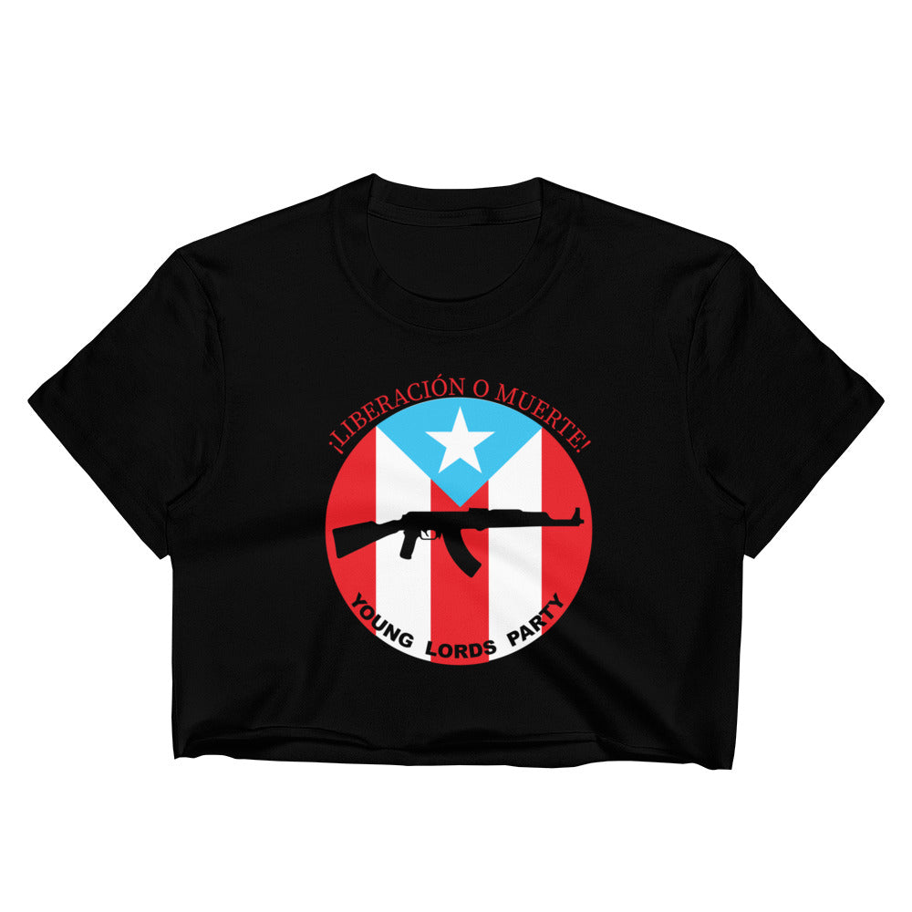 "Young Lords Party ""Liberación o Muerte"" Raw Edge Crop Top 
