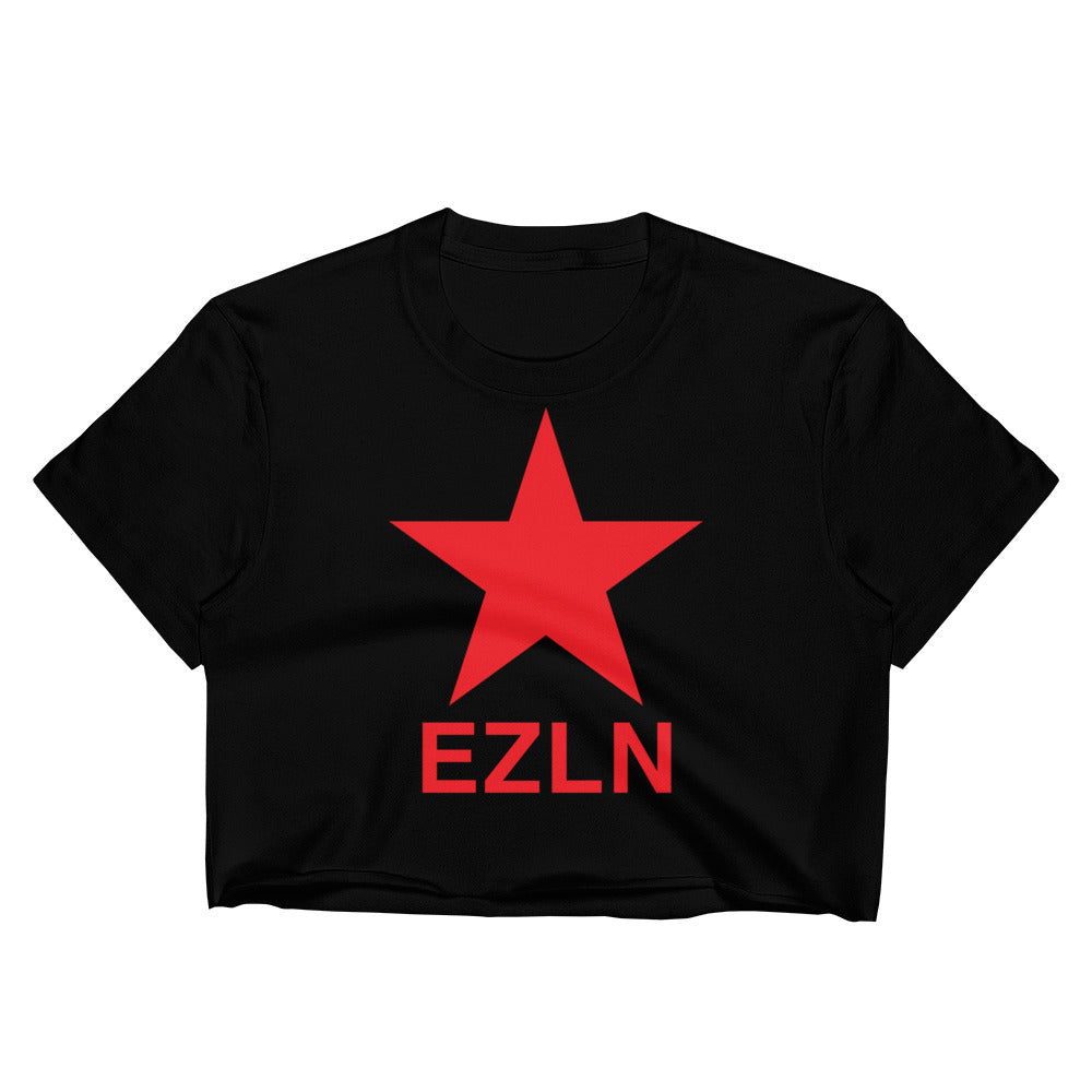 "EZLN ""Zapatista"" Raw Edge Crop Top 