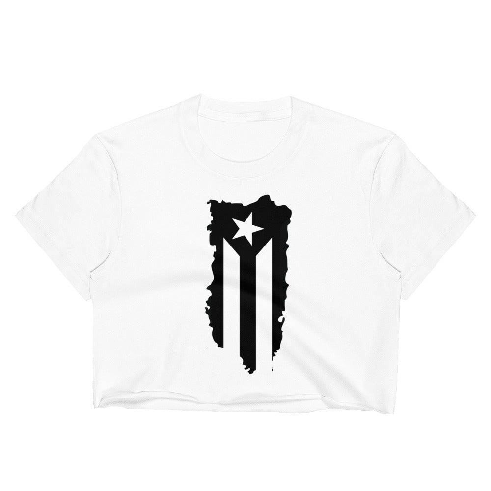Puerto Rico Black Flag on Island Map Raw Edge Crop Top