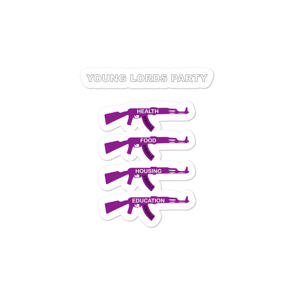 "Young Lords Party ""Four Struggles"" Bubble-free stickers 