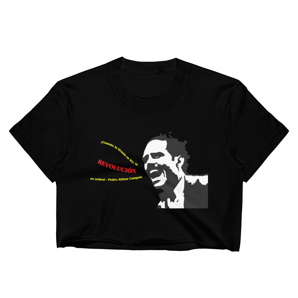 Pedro Albizu Campos Quote Raw Edge Crop Top