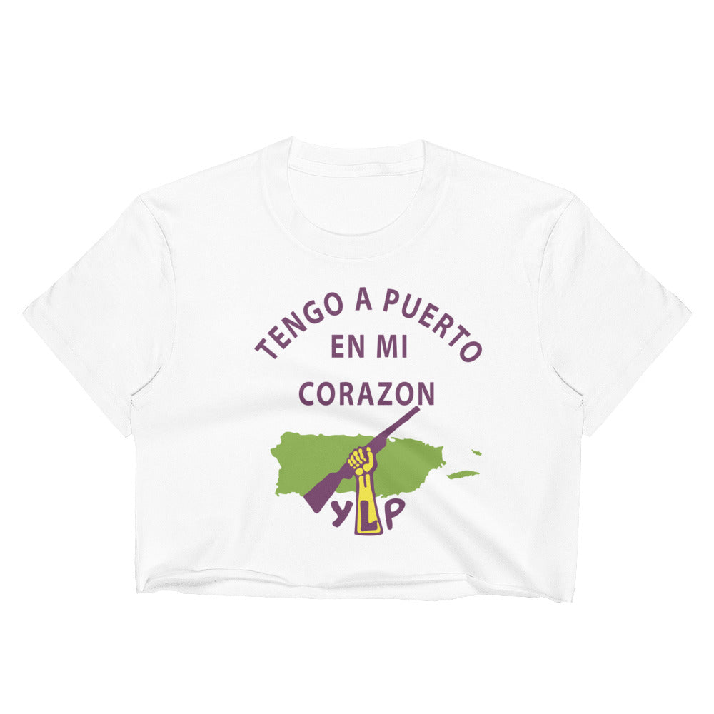 "Young Lords Party ""Puerto Rico En Mi Corazon"" Raw Edge Crop Top 