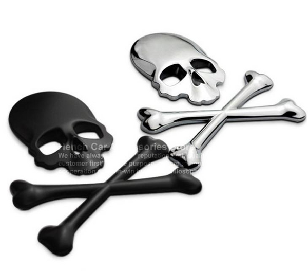 Car / Motorcycle Sticker 3D Skull Metal Label Emblem Badge