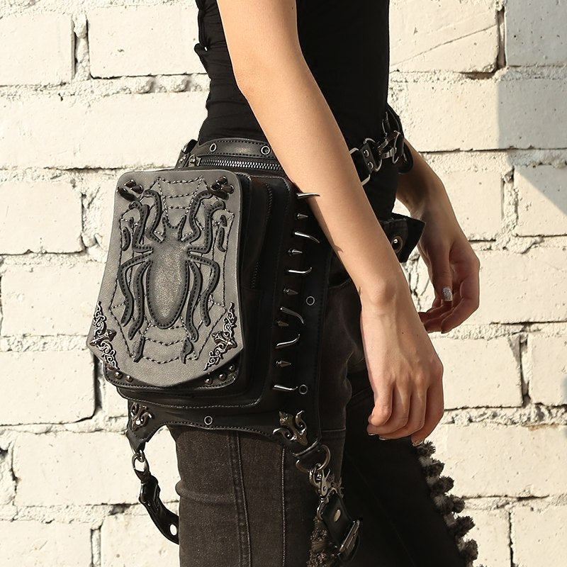 Vintage & Rock Leather Spider Waist Bag