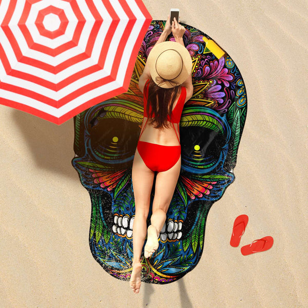 Beach Towel Skull Shaped